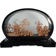 Vintage Oriental Cork Carving - Beautiful Carved Cork Scene in Original Lacquered Frame