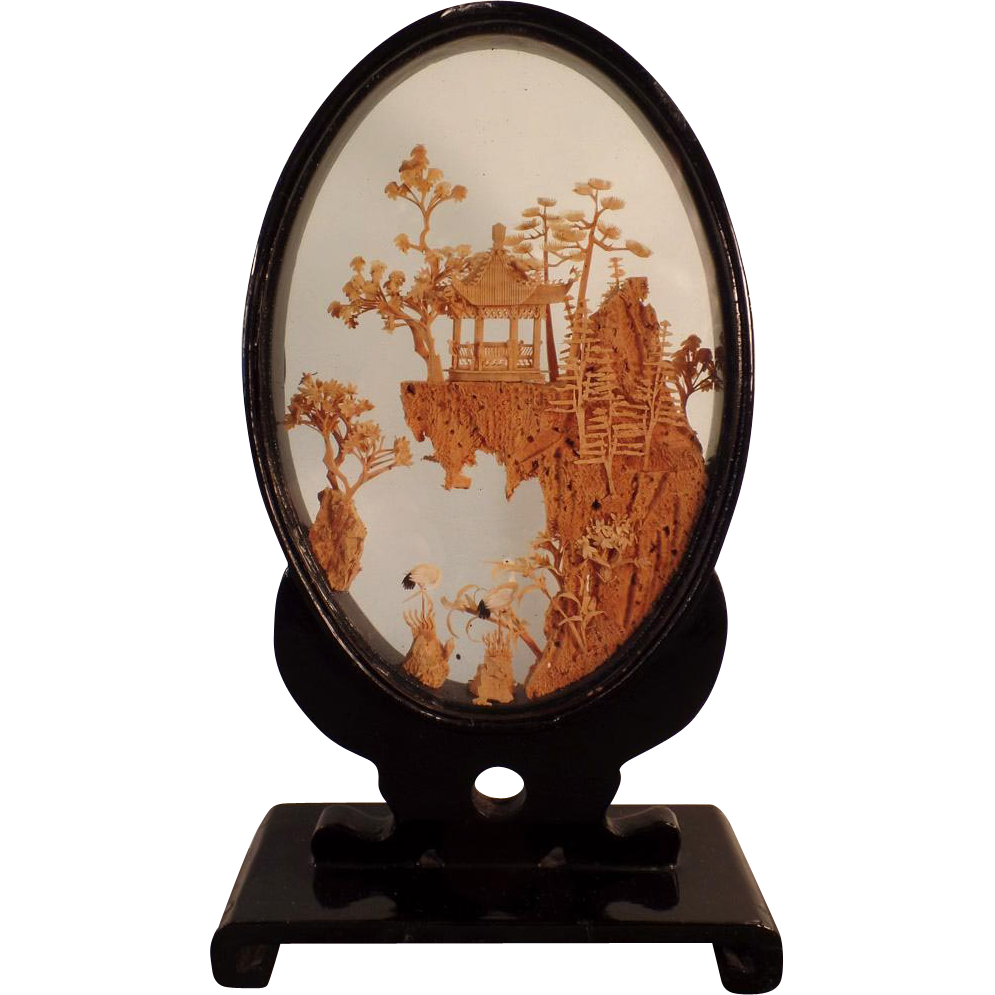 Vintage Oriental Cork Carving in Original Lacquered Frame - Small Size Carved Cork Scene