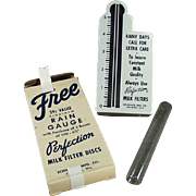 Vintage Rain Gauge - Old Advertising for Perfection Milk Filters