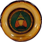 Large Vintage Glass Ashtray – US Dept. of the Interior- Bureau of Reclamation - Boulder Canyon Hoover Dam