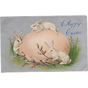 Vintage Easter Postcard - Large Pink Egg and Three White Rabbits Bunnies