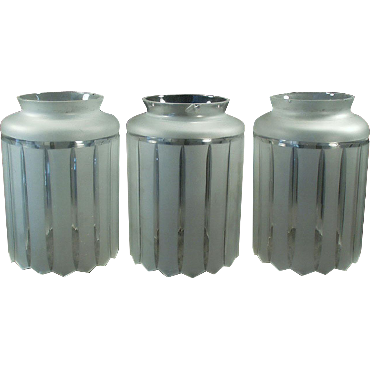 Set of Three Vintage Light Fixture Shades - Large Neck Size