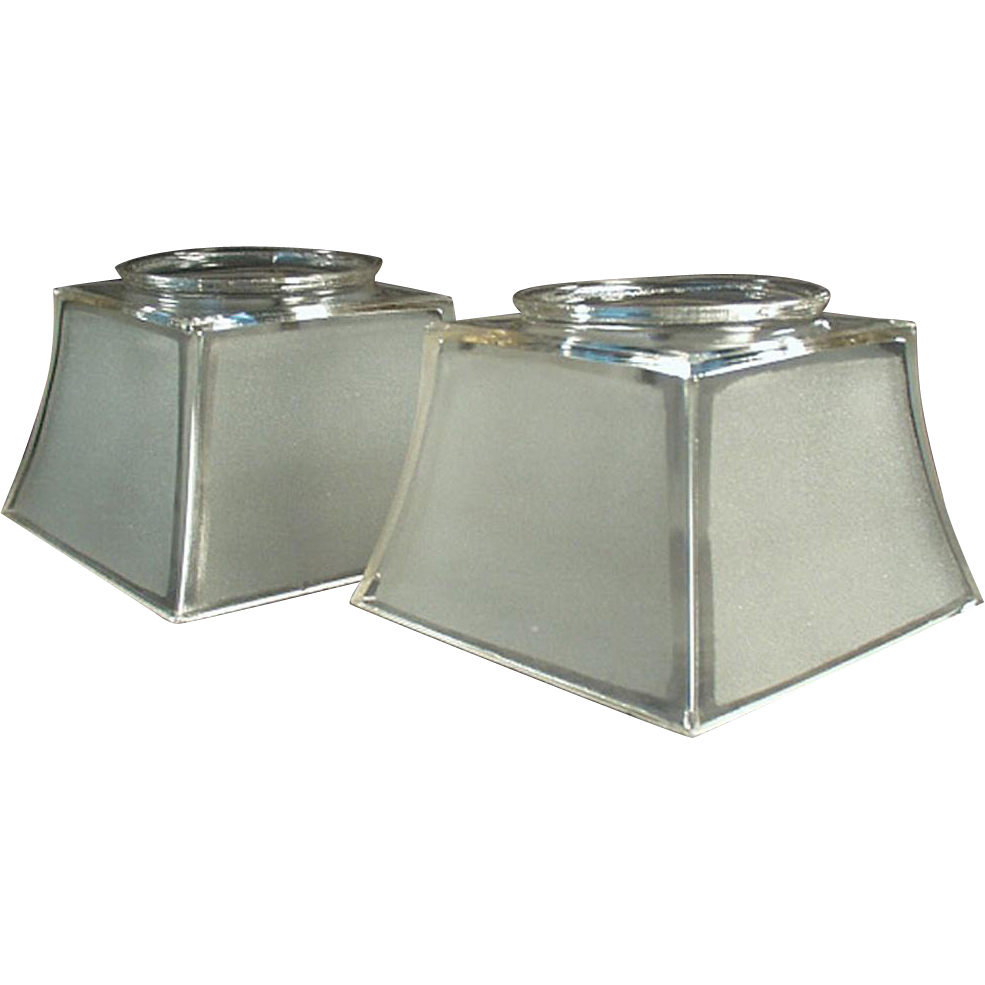 Pair of Vintage Light Fixture Shades - Frosted Shades for Large Shade Holders