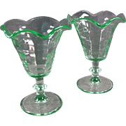Pair of Vintage Ice Cream Dishes - Stemmed Tulip Sundae Dishes - Green