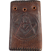 Vintage Masonic Memorabilia - Leather Car Key Case with the Masonic Emblem