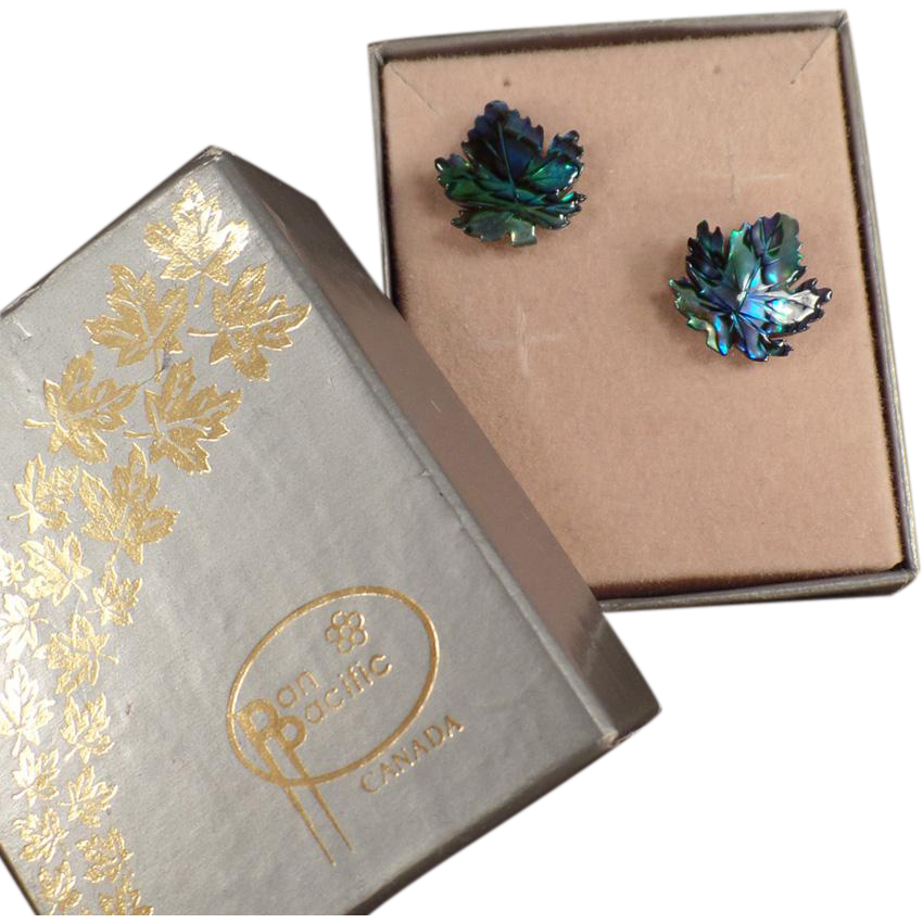 Vintage Abalone Leaf Stud Earrings - Abalone Maple Leaves