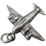 Vintage Silver Airplane Charm – Four Prop Airplane – Mexican Charm