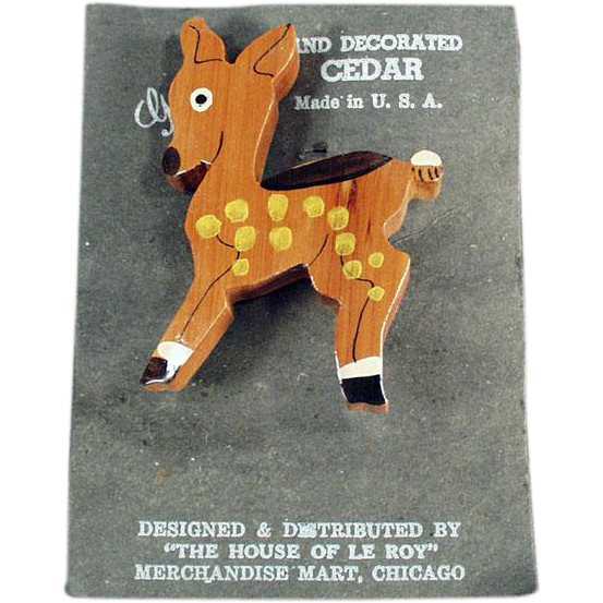 Vintage Deer Pin - Hand Painted Cedar Pin - Spotted Deer - Add Fun to a Suit Lapel