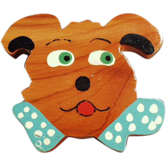 Funky Vintage Cedar Pin - Funny Dog Face - Add Spunk to a Business Suit