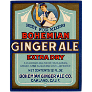 Vintage Soda Bottle Label - Colorful Bohemian Ginger Ale Paper Label