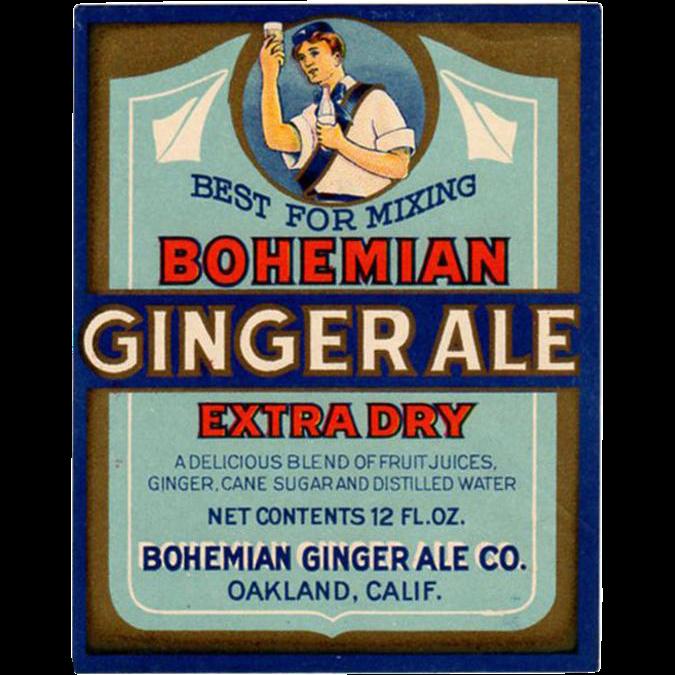 Vintage Soda Bottle Label - Colorful Bohemian Ginger Ale Paper Label