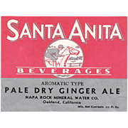 Old Paper Soda Bottle Label - Santa Anita Beverages with Horse Jockey