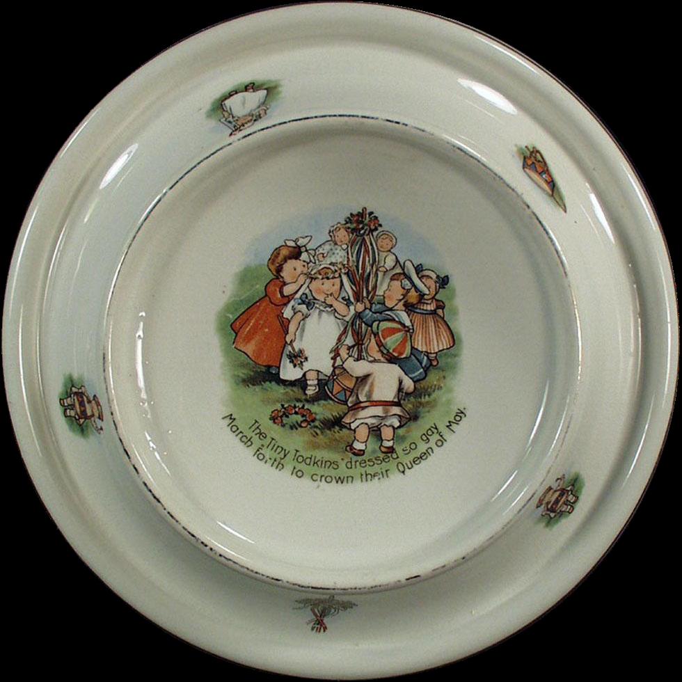 Vintage Baby Plate - Tiny Todkins Feeding Dish - May Day Celebration