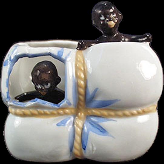 Vintage Black Memorabilia - Black Babies in Cotton Bale Porcelain Whimsy