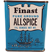 Vintage Spice Tin – Finast with Sailing Ship Graphics – First National Stores
