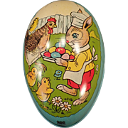 Vintage Chein Tin Easter Egg with a Bunny Rabbit, Hen and Chicks
