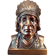 Vintage Bank -  Indian Chief Bust - Western Montana - Figural Coin Bank