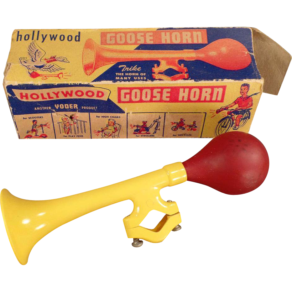 Vintage Bicycle Accessory - Plastic Goose Horn with Original Box - Colorful Bicycle Horn