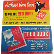 Two Vintage Ink Blotters Advertising the Chicago Red Book Phone Directory