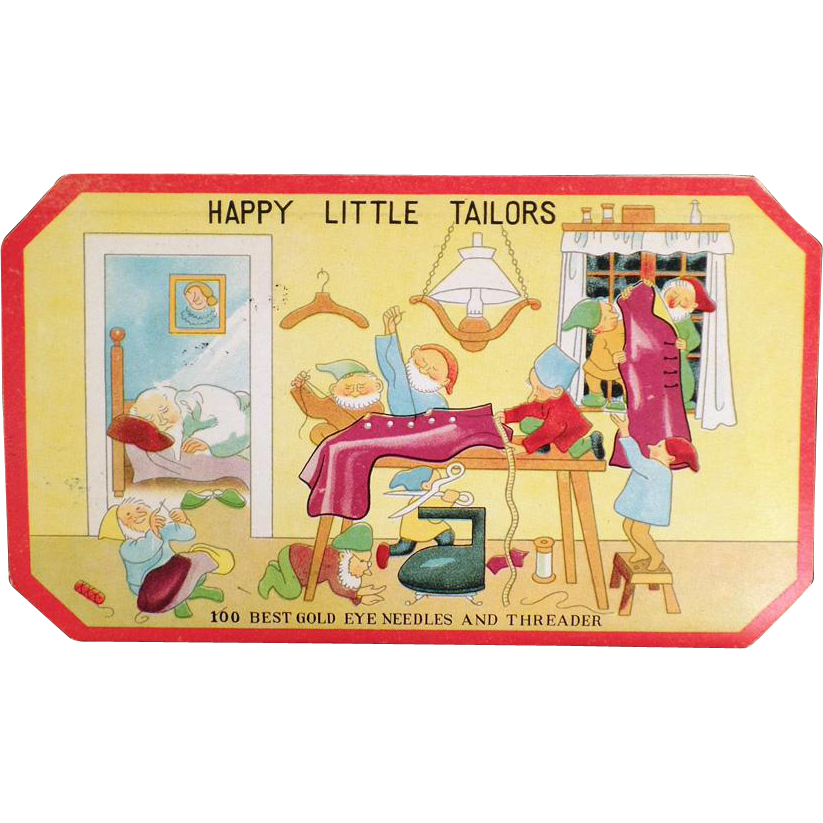 Vintage Sewing Needle Book - Happy Little Tailors with Elves