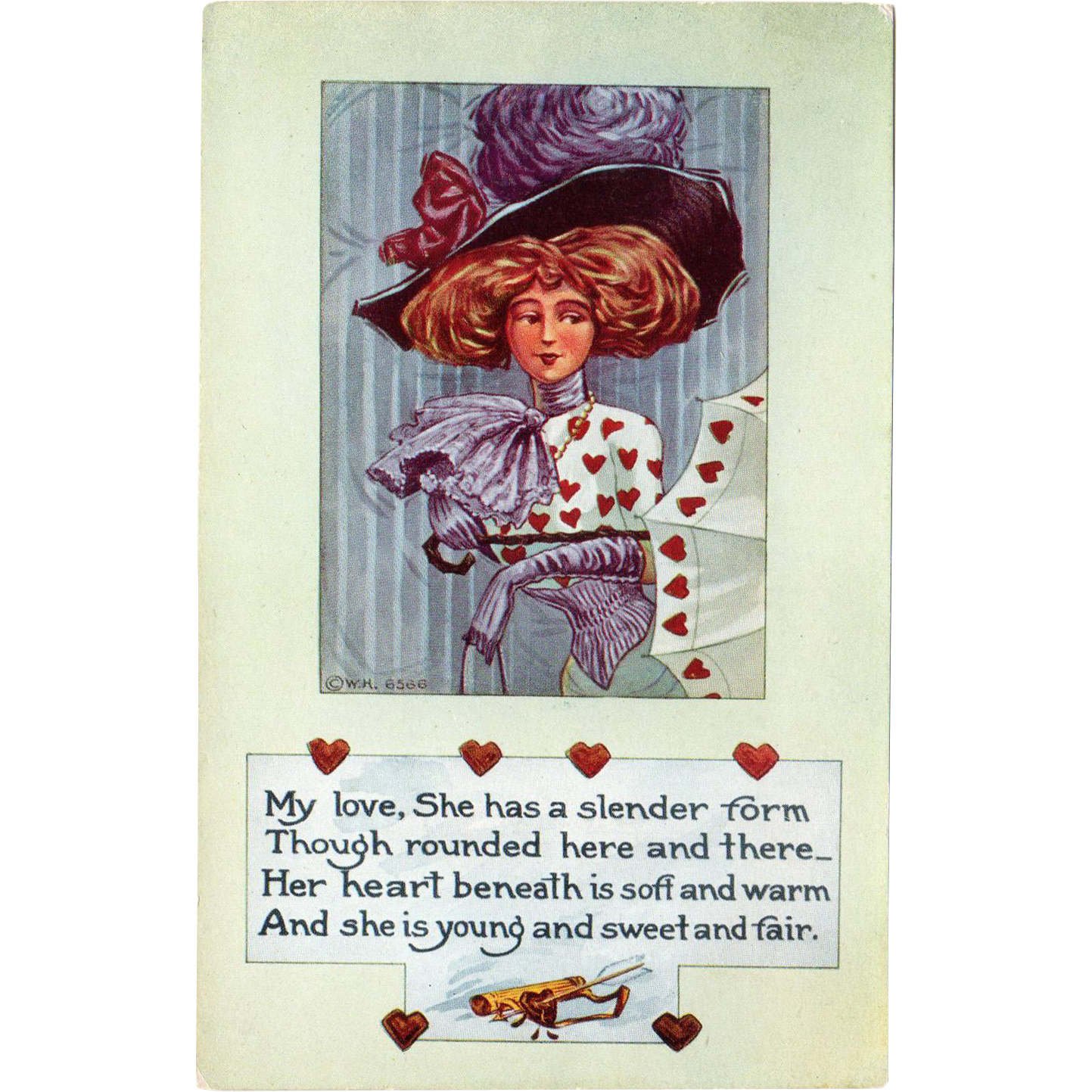 Vintage Valentine Postcard – Life Comic Series – Glamour Girl