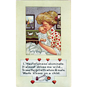 Vintage Valentine Postcard – Life Comic Series – Woman and Sweet Baby