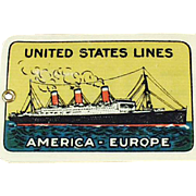 Vintage Celluloid Luggage Tag - United States Ship Lines - ca 1920's