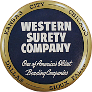 Vintage Celluloid Advertising Mirror - Paperweight Mirror - Western Surety Advertising