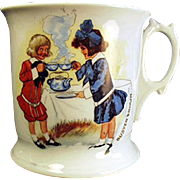 Vintage Shaving Mug - Buster Brown and Mary Jane German Porcelain Mug