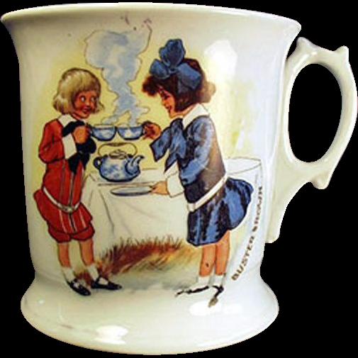 Vintage Shaving Mug - Buster Brown and Mary Jane German Porcelain Mug