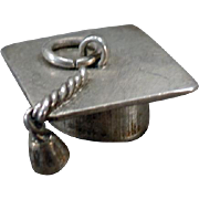 Vintage Silver Charm – Graduation Mortarboard – Tasseled Mortar Board