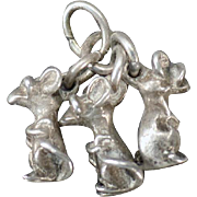 Vintage Silver Charm – Three Blind Mice – Nursery Rhyme Favorite