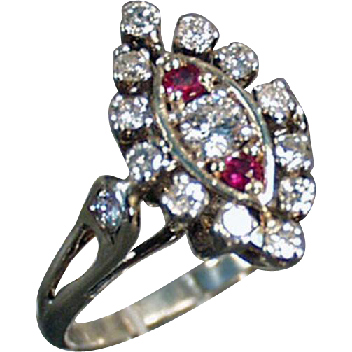 Ladies Vintage Cocktail Ring - Diamonds and Rubies in 14K White Gold