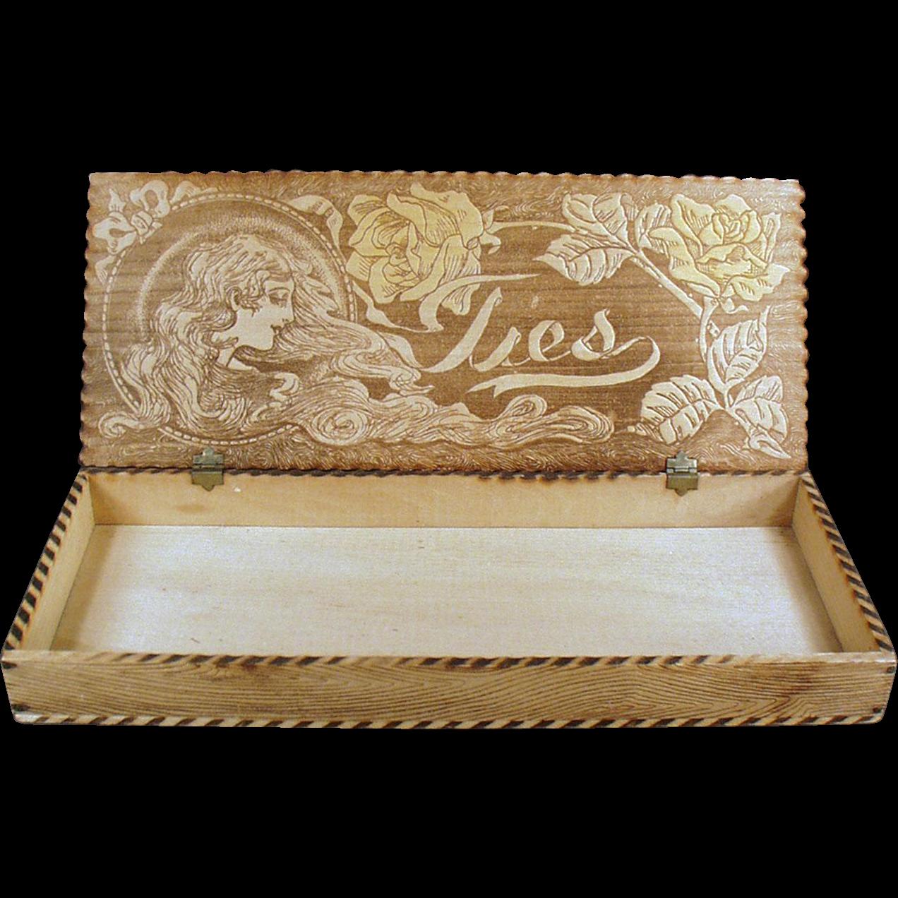 Vintage Pyrography Box - Wood Burned Art Nouveau Design Tie Box