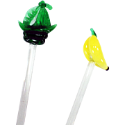 Vintage Glass Swizzle Sticks – Ship and Banana Drink Stirrers