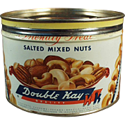 Vintage Nut Tin - Old Double Kay Mixed Nuts - Kelling Nut Co. - Nice Graphics