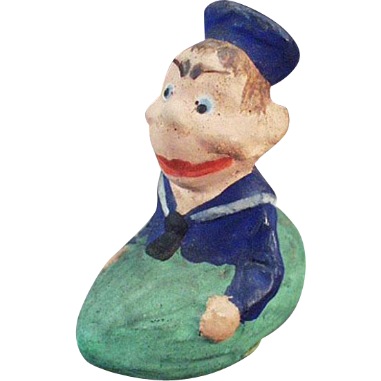 Vintage German Candy Container - Funny Sailor in a Pickle Boat - Germany