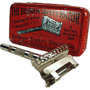 Vintage Burham Safety Razor with Original Razor Tin - Colorful Advertising Tin