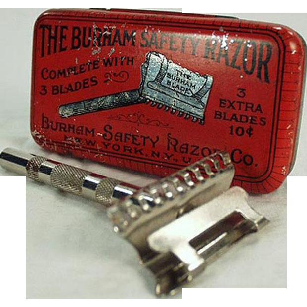 Vintage Burham Safety Razor with Original Razor Tin - Colorful Advertising Tin
