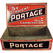 Vintage Tobacco Tin - Portage Cigars - Old Counter Display Tin
