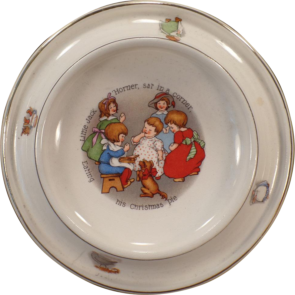 Vintage Royal Baby Plate – Nursery Rhyme Feeding Dish – Little Jack Horner