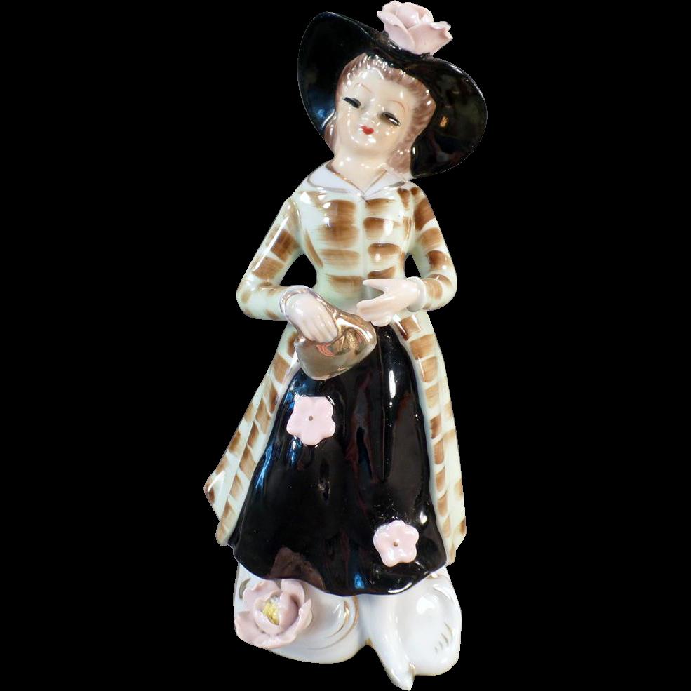 Vintage Flower Vase - Porcelain Lady with Extended Lashes - Mid Centruy Planter Vase