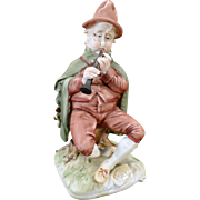 Vintage Pucci Figurine – Capodimonte Porcelain Bisque – Man with Horn - Italy