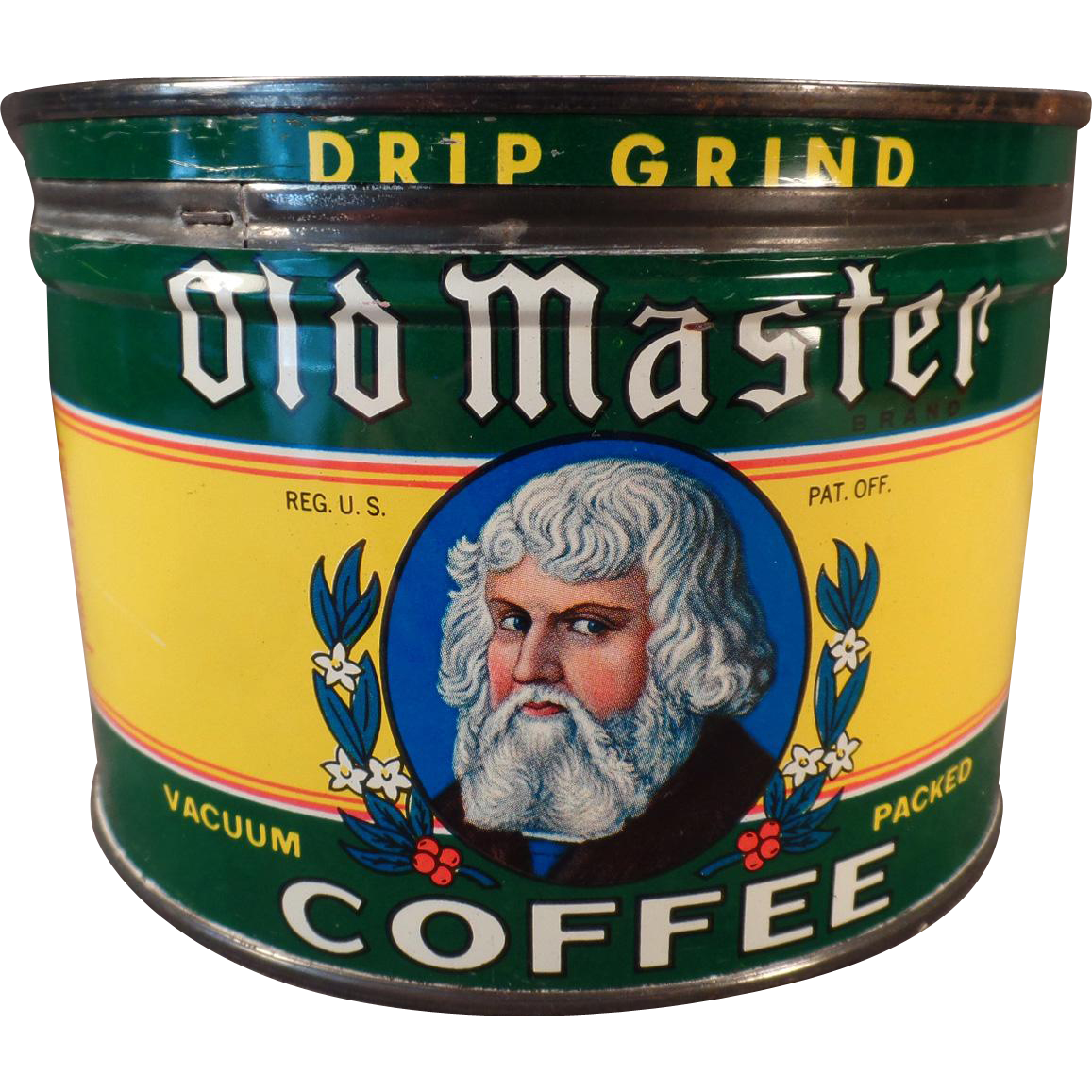 Vintage 1# Coffee Tin – Old Master Key Wind Coffee Can – Euclid Co. of Ohio