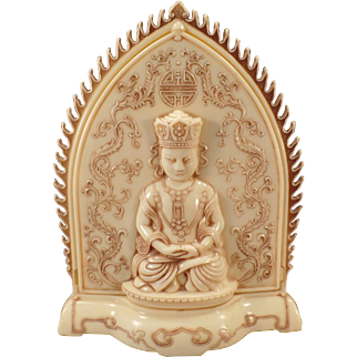 Vintage Cream Colored Bakelite Buddha Shrine Dresser Box – Oriental Detail