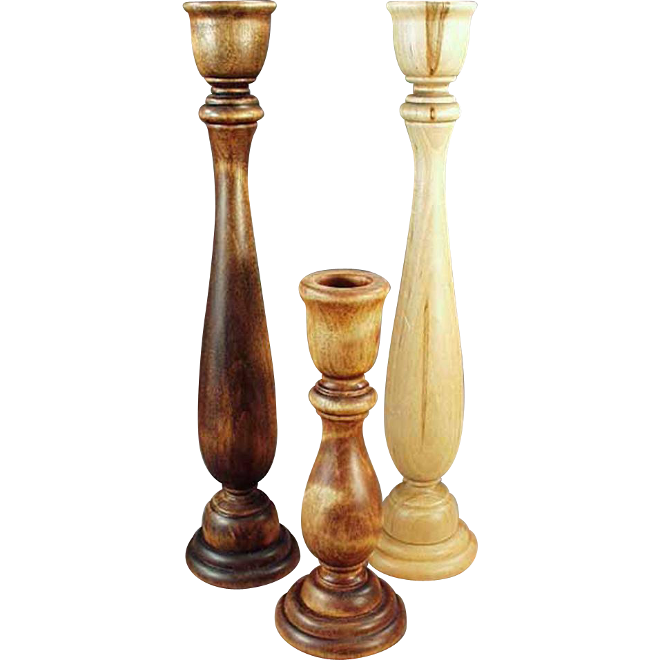Three Vintage Wooden Candlesticks - Nice Decorating Accents - Set of 3