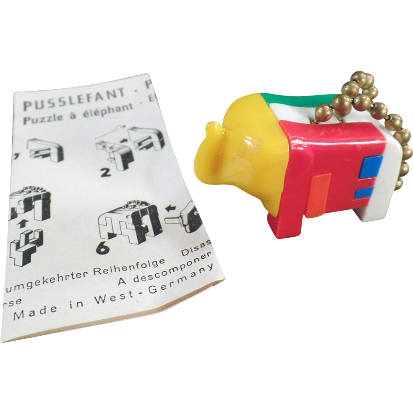 Vintage Puzzle Key Chain - Pussy Puzzlephant Elephant with Instructions