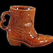 Vintage Frankoma Boot Mug - Glossy Brown Glaze Coffee Cup