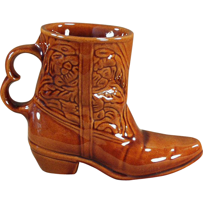 Vintage Frankoma Boot Mug - Glossy Brown Glaze Coffee Cup