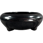 Vintage Pottery Bowl - Small with High Gloss Black Glaze - Old Accent Piece